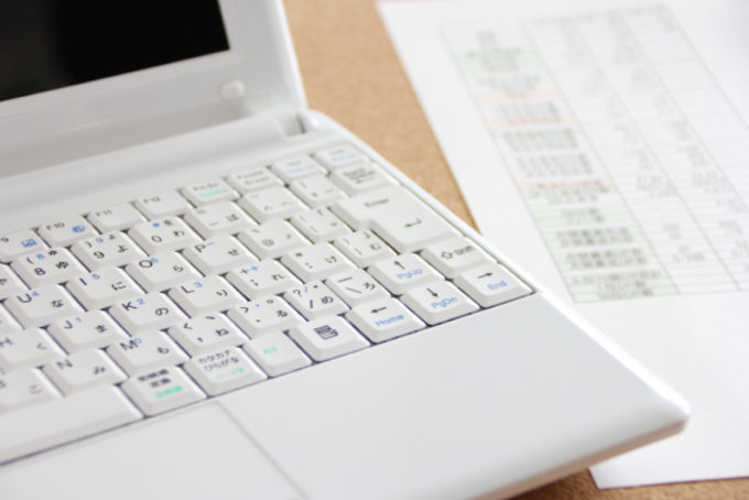 ノートパソコン キーボード 書類