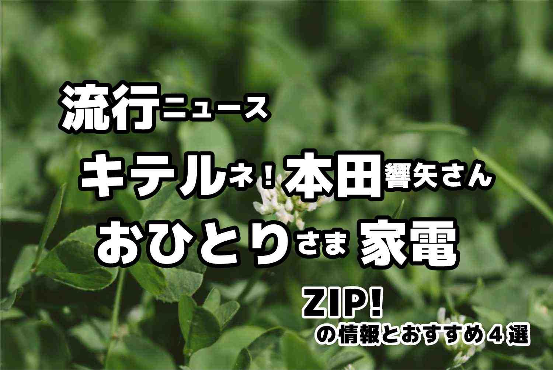 ZIP 流行ニュース キテルネ おひとりさま家電