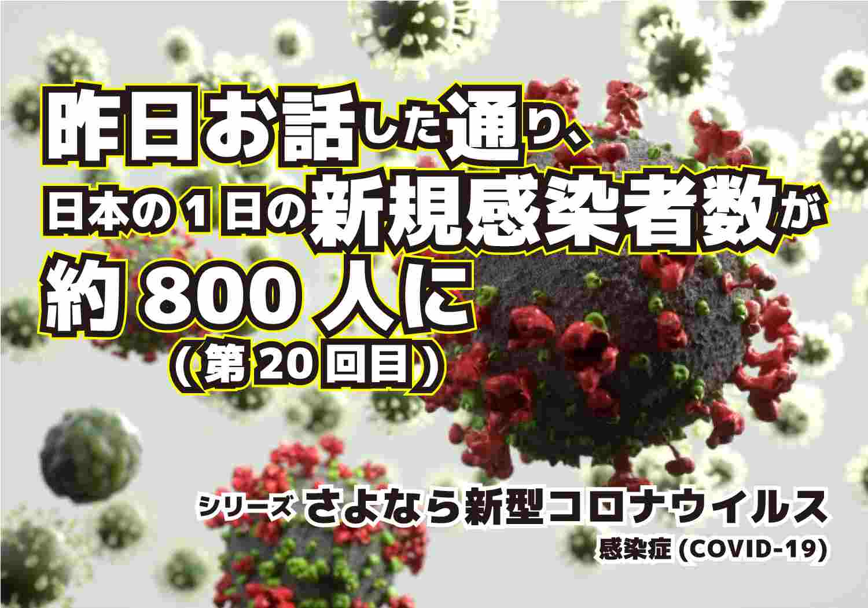 新型コロナウィルス COVID-19 日本の1日の新規感染者が約800人に シリーズ第20回目