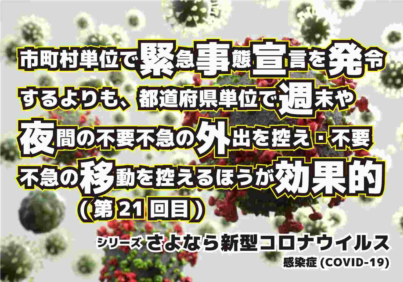 新型コロナウィルス COVID-19 市町村単位 都道府県単位 シリーズ第21回目