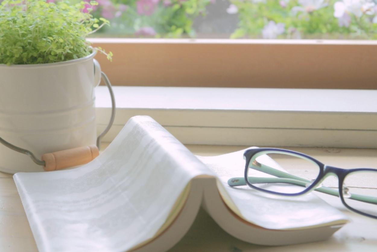 本 窓際 読書用のメガネ