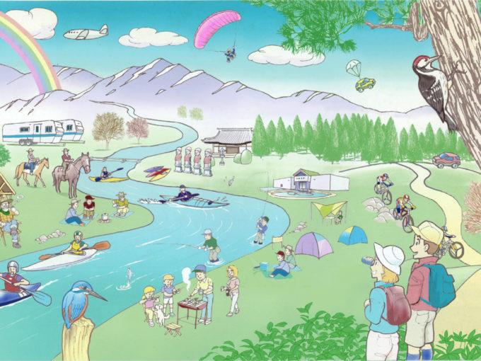 景色 キャンプ 山 川